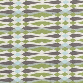 American Queen - Green - Striking geometric patterns printed on linen and cotton blend fabric in white, grey, icy blue, dark purple & dusky