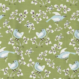 Madam Birdie - Full Green - Pretty birds and flowers printed in white, baby blue and dark purple on afern green linen and cotton fabric bac