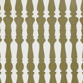 362436 - Sage - Khaki and white 100% linen fabric patterned with rows of bannister silhouettes
