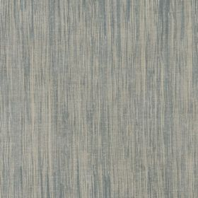 Downey - Pale Blue - 100% flocked linen fabric with a vertical streaked design in very pale blue and cream