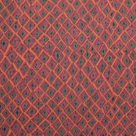 Africana - Hot Pink - Uneven pink shapes with dark grey centres on a salmon pink coloured 100% linen fabric background