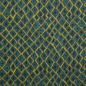 Africana - Aqua - Lime green, dark turquoise and midnight blue coloured 100% linen fabric with an uneven pattern of square-diamond shapes
