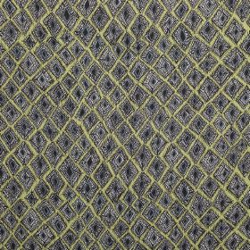 Africana - Pistachio - Fabric made from 100% linen, patterned with uneven square-diamond shapes in grey on a pale green background