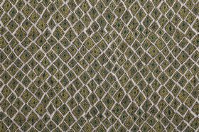 Africana - Green - Forest green, white and dark grey coloured 100% linen fabric, patterned with uneven shapes which resemble squares