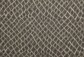 Africana - Olive - Dark grey-green coloured square-diamond shapes on a white background of fabric made from 100% linen