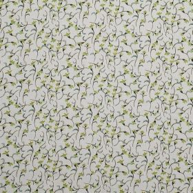Amapola - Pistachio - Green florals with grey stems scattered over pale grey coloured 100% linen fabric with a tiny design
