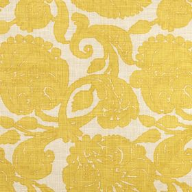 Anna - Lemon - Fabric made from 100% linen in an off-white colour, with a large floral pattern in mustard yellow