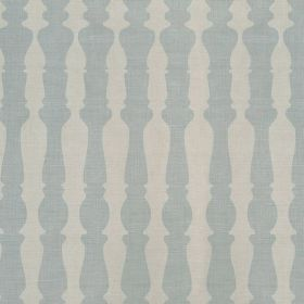 362436 - Aqua - Off-white and pale blue coloured 100% linen fabric featuring a regular, repeated pattern of bannister shapes