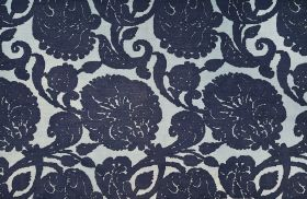 Anna - Indigo - Navy blue and pale blue-grey coloured 100% linen fabric patterned with a large floral design