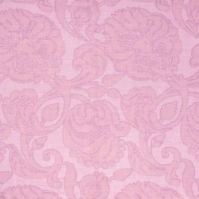 Anna - Lilac - Floral patterned fabric made from 100% linen with a large design in three very similar shades of light pink-purple
