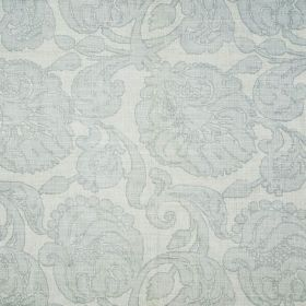 Anna - Pale Blue - Three different pale shades of grey making up a large floral pattern on fabric made entirely from linen