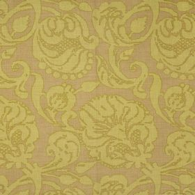 Anna - Sage - Large, light green florals with darker green edges on a light brown background of fabric made from 100% linen