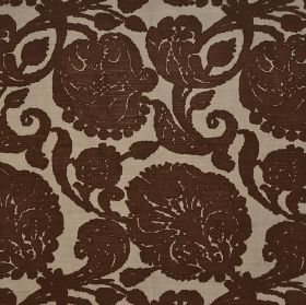 Anna - Chocolate - Fabric made from 100% linen with a large floral pattern in dark chocolate brown and a much paler shade of brown