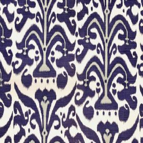 Belfour - Indigo - Navy blue and very pale grey patterns on a white 100% linen fabric background
