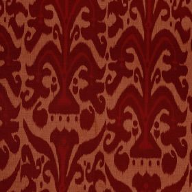 Belfour - Ruby - Copper coloured 100% linen fabric behind a design created in two rich, dark shades of red