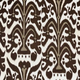 Belfour - Chocolate - Chocolate brown, beige and white coloured fabric made entirely from linen with a large, repeated pattern