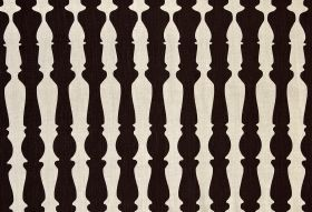 362436 - Brown - Bannister print patterned 100% linen fabric with a very dark brown, almost black, design on a white background
