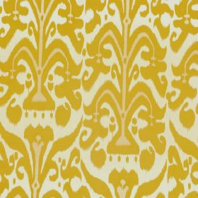 Belfour - Lemon - A mustard yellow and cream coloured pattern printed on a white background made from 100% linen fabric