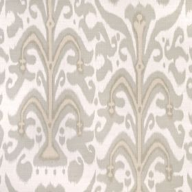 Belfour - Smoke - Fabric made from 100% linen fabric with a large pattern in white and pale shades of grey and beige