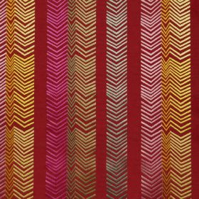 Book End - Ruby - 100% embroidered linen fabric in burgundy, featuring rows of chevrons in various colours including pink, green and yellow