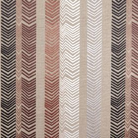 Book End - Chocolate - Various shades of brown, white, black and grey making up a chevron design on fabric made from 100% embroidered linen