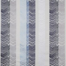 Book End - Indigo - Fabric made from 100% embroidered linen with a pattern created by rows of chevrons in various shades of blue and grey