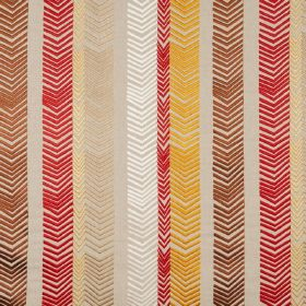 Book End - Natural - Warm reds, golds and browns and white making up a pattern of rows of chevrons on fabric made from 100% embroidered line