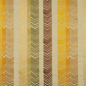 Book End - Sage - 100% embroidered linen fabric in shades of brown, gold and yellow, patterned with chevrons lined up in vertical rows