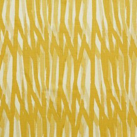 Breakwater - Lemon - Random honey and creamy yellow coloured lines painted on white 100% linen fabric