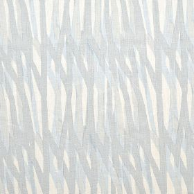 Breakwater - Pale Blue - White 100% linen fabric behind a pattern of randomly painted lines in various different pale shades of grey