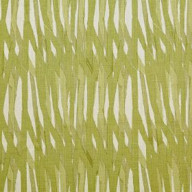 Breakwater - Sage - Fabric made entirely from linen with grass green coloured lines painted randomly on a white background