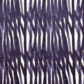 Breakwater - Indigo - Purple and indigo coloured lines painted on a white 100% linen fabric background
