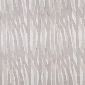 Breakwater - Smoke - A background of white fabric made from 100% linen to a design of beige and light grey coloured randomly painted lines