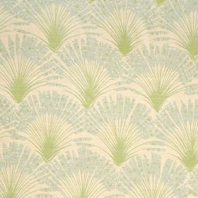 Brisa - Aqua - Cream and light green coloured 100% linen fabric patterned with rows of feather-like fan shapes