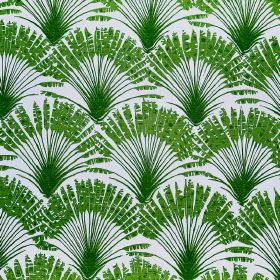 Brisa - Green - Bright green reeds arranged in fan shapes and repeatedly printed over fabric made from pale blue-grey coloured linen