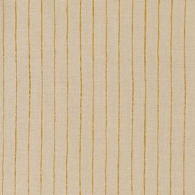 Broken Stripe - Honey - Honey coloured lines running vertically down pale brown coloured 100% linen fabric