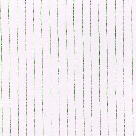 Broken Stripe - Green - Unevenly coloured bright green lines running vertically down bright white fabric made from 100% linen