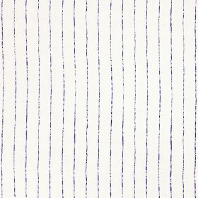 Broken Stripe - Indigo - Dark purple lines running vertically down a background of white 100% linen fabric