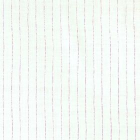 Broken Stripe - Lilac - 100% linen fabric in white, patterned with evenly spaced vertical lines in light pink