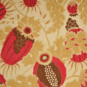 Carnival - Berry - Caramel, red and brown coloured 100% linen fabric patterned with large designs of leaves and thistle shapes