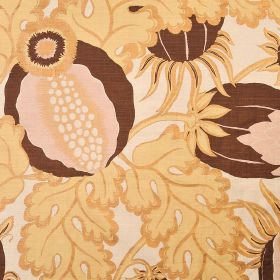 Carnival - Copper - Thistle and leaf patterned 100% linen fabric in shades of golden cream, chocolate brown and very pale pink