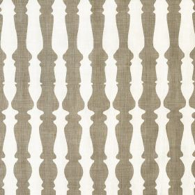 362436 - Natural - Rows of light brown bannisters printed in rows on white fabric made entirely from linen