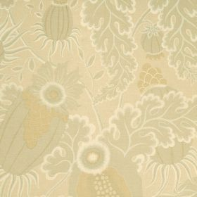 Carnival - Natural - Fabric made entirely from linen featuring a pattern of leaves and thistles in several different similar shades of cream