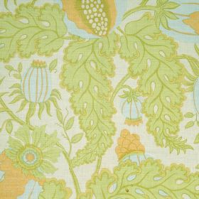 Carnival - Pale Blue - Light green leaves with pale blue and light orange thistles on a background of off-white fabric made from 100% linen