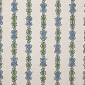 Chicago - Green - Geometric shapes in green and blue, outlined in grey and arranged in vertical rows on off-white 100% linen fabric