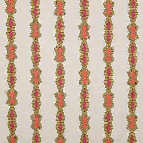Chicago - Lemon - Olive green outlines to rows of small pink and orange geometric shapes on off-white fabric made from 100% linen