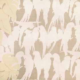 Curica - Natural - Beige, cream and white coloured 100% linen fabric patterned with large leaves and silhouettes of tropical birds