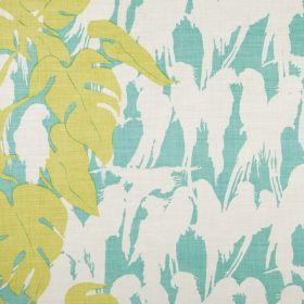 Curica - Aqua - Silhouettes of tropical birds and large leaves patterning 100% linen fabric in white, aqua blue and lime green
