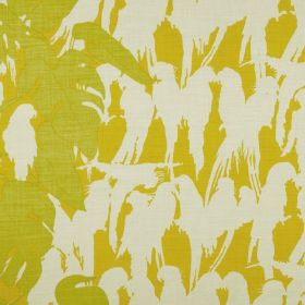 Curica - Lemon - Mustard yellow, lime green and off-white coloured fabric made from 100% linen with a bird silhouette and leaf pattern