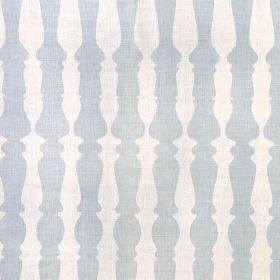 362436 - Pale Blue - Pale blue and white coloured bannister print fabric made from 100% linen